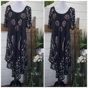 Black-White Batik Embroidered Summer Dress